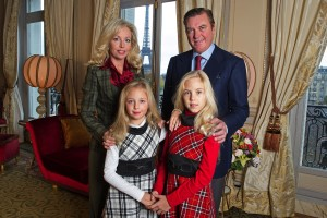 EXCLUSIVE: Prince Charles and Princess Camilla of Bourbon Two Sicilies, Duke and Duchess of Castro pose with their daughters Princess Maria Carolina and Princess Maria Chiara at their home in Paris, FRANCE-12/11/12.