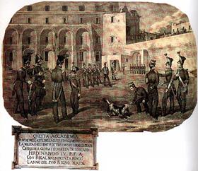 Un cortile della Nunziatella (litografia del primo Ottocento) e la lapide che ricorda la fondazione dell'accademia (ora liceo militare)