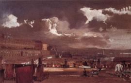 El Palacio Real desde el Palacio Salerno, aguada, Giacinto Gigante, 1854