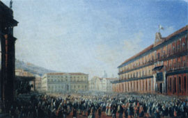 The Royal Palace on the occasion of the presence in Naples of Pope Pius IX (1849) - L. Fergola
