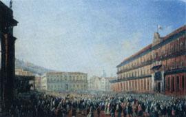 Palacio Real en ocasión de la estadía del Papa Pio IX en Napoles (1849) - L. Fergola