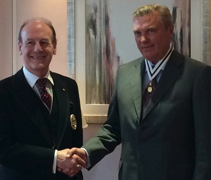 The Duke of Castro receives the Companion's Badge of the League of Mercy