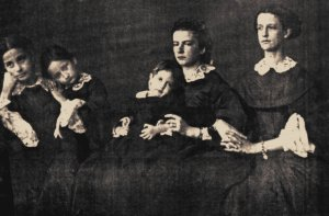 This photograph by Bernoud shows Maria Sofia (second from right) and Ferdinand II's daughters. It was clearly taken soon after the King's death.