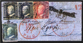 Sicily - The only letter found in the United States, after crossing from Marseille, Le Havre and New York, bearing a three-colour wonderful stamp. It is a unique and highly interesting document (Rothschild former collection)