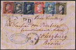 Sicily- A sumptuous stamp to Germany made up by six of the seven stamps issued , among which the very rare 50 grains, now known only in seven specimens on letters to go abroad. This is a unique value, for its destination, and its multicoloured and iridescent postage